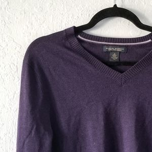 Banana Republic Purple V-Neck Merino Sweater Med
